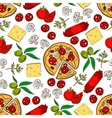 Italian pizza with ingredients seamless pattern vector image