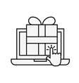 laptop computer gift box clicking vector image