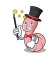 magician worm mascot cartoon style vector image