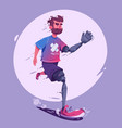 man with a prosthesis is running sport concept vector image