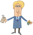 man with cash and smart phone vector image vector image