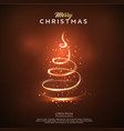 merry christmas card glow christmas tree design vector image vector image