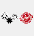 outline gear mechanism icon and distress vector image vector image