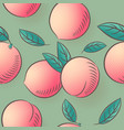 peaches seamless pattern ripe fruits with leaves vector image vector image