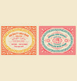 retro cards set with engraving and floral detail vector image vector image