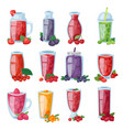 smoothie healthy berry drink in glass or vector image vector image