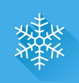 snowflake icon in flat style isolated on blue vector image vector image
