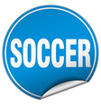 soccer round blue sticker isolated on white vector image vector image
