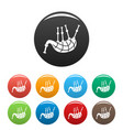 stripped bagpipes icons set color vector image vector image