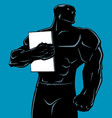 superhero holding book no cape silhouette vector image vector image