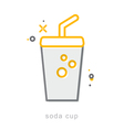 Thin line icons Soda cup vector image