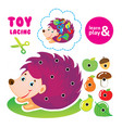 toy lacing for children and parents help hedgehog vector image