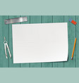 white blank sheet of paper on a wooden table vector image vector image