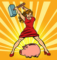 woman breaks piggy bank finance economics and vector image vector image
