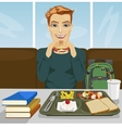 young student having lunch in fast food restaurant vector image vector image