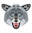 angry wolf head logo decorative emblem vector image