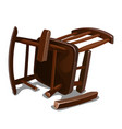 a broken old wooden rocking chair isolated on vector image