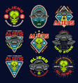 aliens and ufo set nine colored emblems vector image vector image
