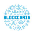 blockchain technology blue round outline vector image
