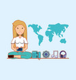 blonde woman with cellphone social media functions vector image