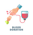 blood donation agitative poster with adult and vector image vector image