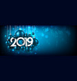 blue festive 2019 new year banner with christmas vector image vector image