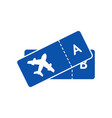 blue icon of tickets on plane for airline vector image vector image