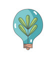 bulb with plant and leaves inside icon vector image vector image