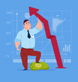 business man hold red arrow up financial success vector image