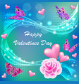 card happy valentines day with a flower and vector image