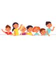 children with paper banner torn sheet kids vector image