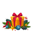 christmas decoration with fir and gift holiday vector image