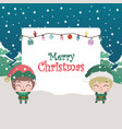 christmas scene greeting with cute elves and text vector image