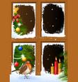 christmas scenes seen through a wooden window vector image