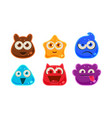 cute funny colorful jelly monsters set user vector image vector image