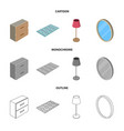 design of bedroom and room icon collection vector image vector image