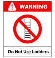 do not use ladder no ladders prohibition sign vector image vector image