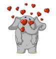 elephant very in love enamored many hearts vector image vector image