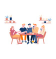 friends meeting in cafe or bar company young vector image vector image