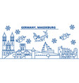 germany magdeburg winter city skyline merry vector image vector image