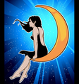 girl on moon vector image vector image