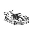 go kart sport car sketch engraving vector image