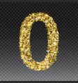 gold glittering number zero shining golden vector image vector image