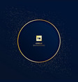 gold round badge on dark blue background with vector image