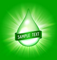 green drop with ribbon for text vector image