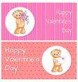 happy valentines day bear set vector image