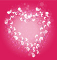 heart abstract butterflies background vector image