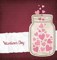 Hearts in a glass jar vector image vector image