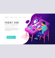 isometric front end development landing page vector image vector image