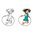 jumping rope girl vector image